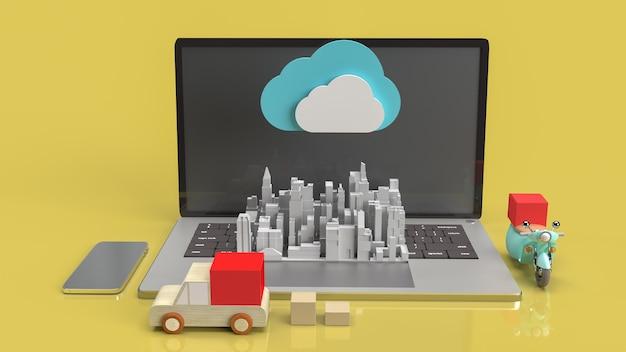 クラウドコンピューティングコンテンツの3dレンダリング用のクラウドおよびテクノロジー機器。