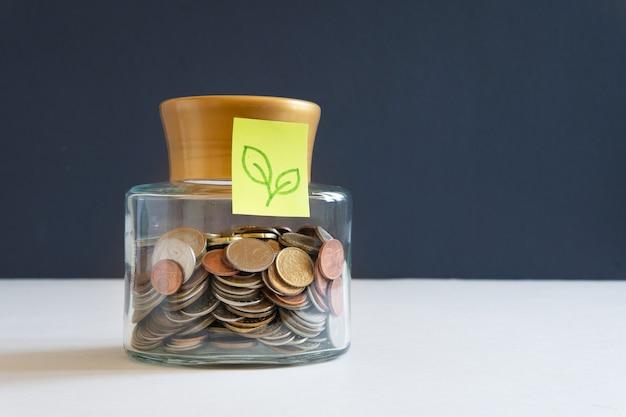 동전은 재정을 축적하기 위해 유리 항아리에 보관됩니다