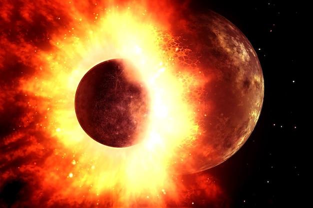 宇宙での2つの惑星の衝突この画像の要素はnasaによって提供されました