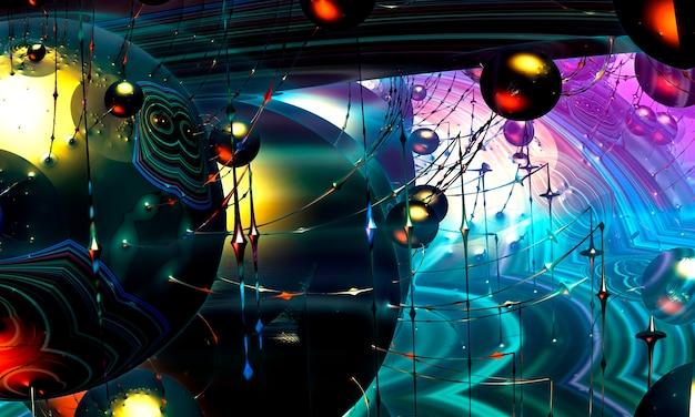 Цвета в сериале, классная цифровая художественная краска. фон состоит из фрактальной цветной текстуры и подходит для использования в проектах на фантазию, творчество и дизайн. 3d визуализация фракталов. Premium Фотографии
