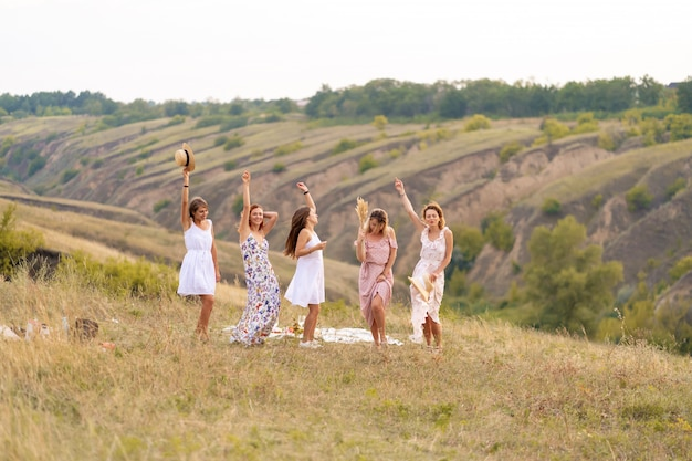 Компания веселых подруг прекрасно проводит время вместе на пикнике в живописном месте с видом на зеленые холмы