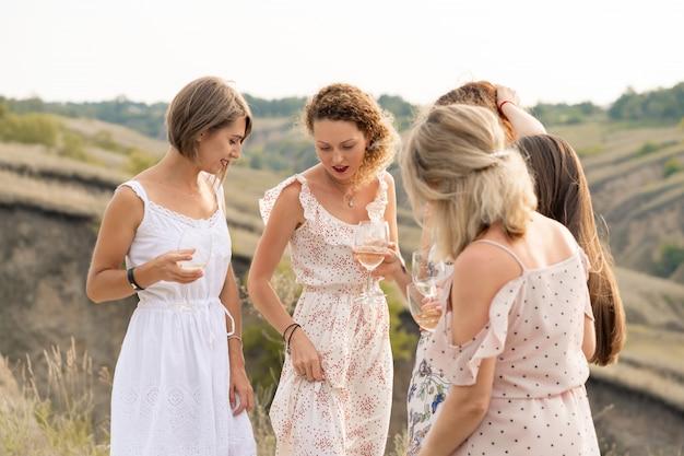 Компания великолепных подруг весело проводит время, пьет вино и наслаждается пикником на холмах