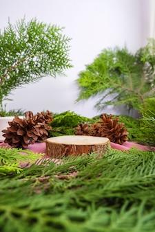 컴포지션은 제품을 표시합니다. 가문비나무 잎 장식이 있는 둥근 오래된 나무. 여름 제품 전시 아이디어