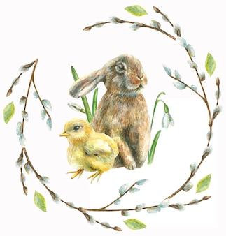구성은 손으로 그려집니다. 갯버들 화환으로 장식 된 닭과 토끼