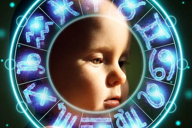 Концепция гороскопа, круг со знаками зодиака для портрета ребенка, астрология. консультации со звездами.