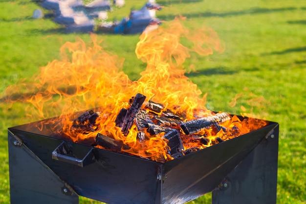 ピクニックのコンセプト。ピクニックのための緑の芝生でのピクニック中に火をつける