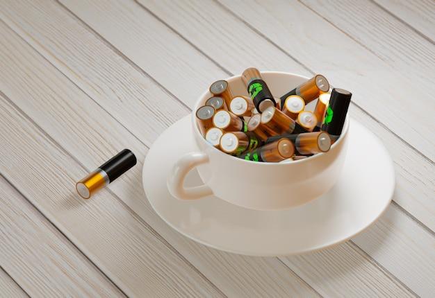 활력을 주는 토닉 드링크의 컨셉입니다. 길고 생산적인 작업. 배터리 패턴으로 레이스에 커피 콩입니다. 3d 렌더링