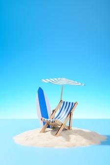 열 대 휴가의 개념입니다. 모래 섬의 우산과 서핑 보드 아래 긴 의자. 복사 공간이 있는 하늘