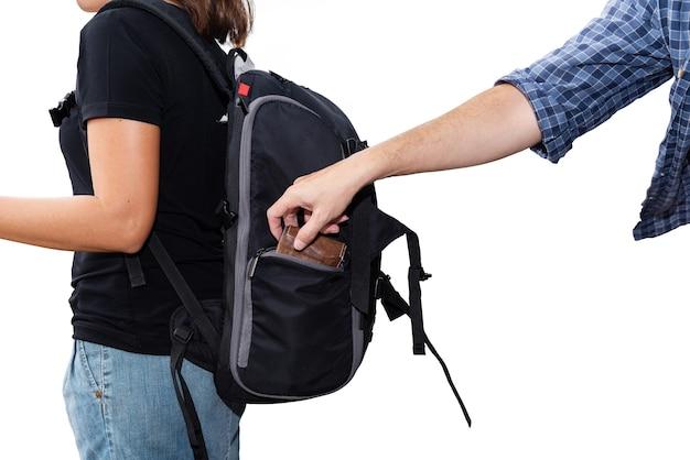 여행 중 조심한다는 개념:도둑은 흰색 배경에 격리된 아시아 여성 관광객의 지갑을 도난당했습니다.