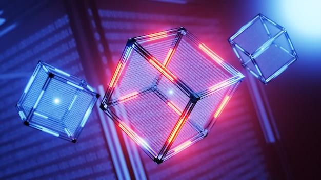 Понятие технологии блокчейн. технологический абстрактный куб с данными. цифровой фон.