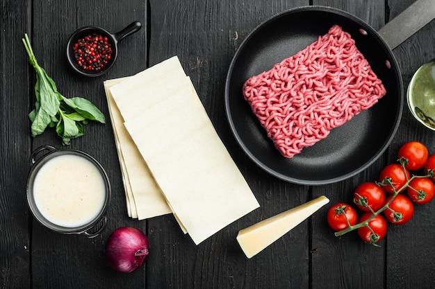 ラザニアを調理するという概念。材料、ラザニアシート