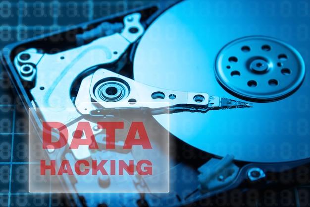 データセキュリティの概念。データのハッキング。 hdd。
