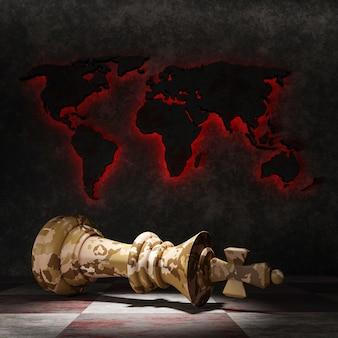 敗北の概念。チェスの王様は、世界地図を背景にチェス盤に横たわっています。 3dイラスト