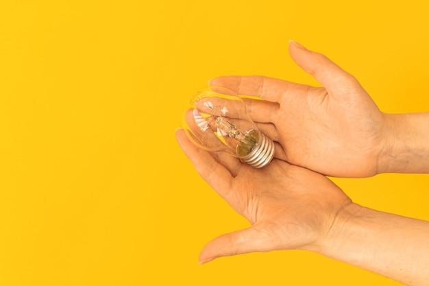 아이디어의 개념, 한 사람의 창의적인 솔루션, 프리랜서 모형 사진, 주황색 배경에 전구를 들고 있는 여성 손