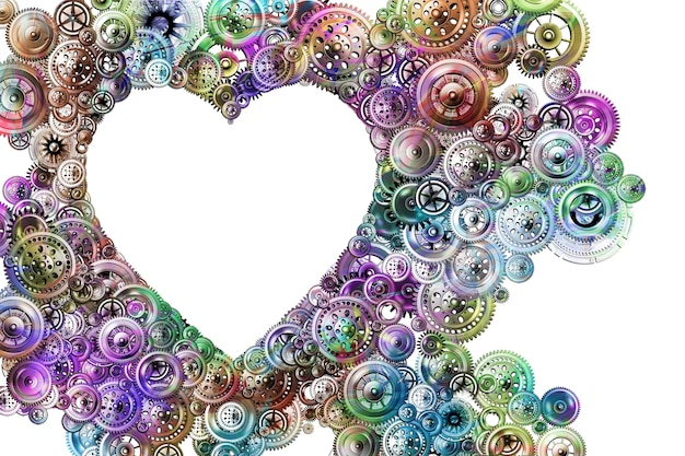 現代世界における愛とロマンスの概念。さまざまなメカニズムからの明るい背景の心。デザインのコンセプト。バレンタイン・デー。 3d画像。