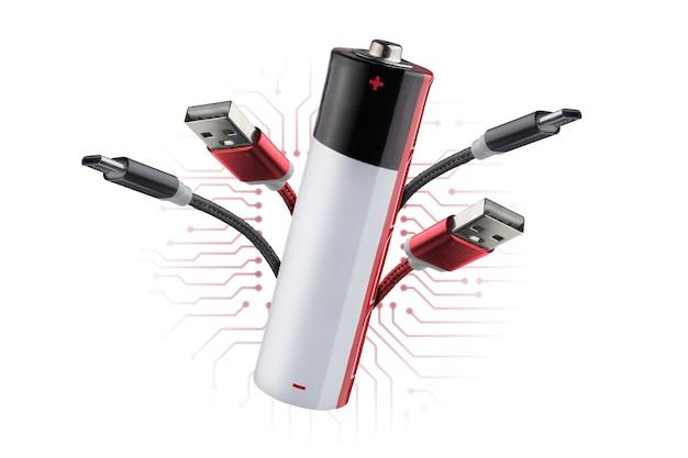 가제트의 전원 공급 장치, 사물 인터넷의 개념. 휴대용 충전기. 전기 에너지 절약..