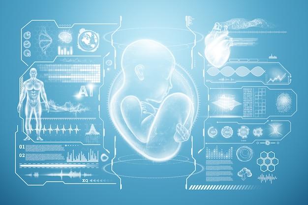 임신, 인공 수정, 건강 진단, 의학의 미래의 개념. 3d 일러스트, 3d 렌더링.