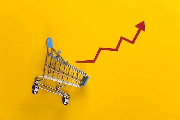 売上高の増加の概念。黄色に成長矢印が付いたショッピング カート