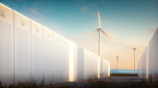 재생 가능한 자원에서 에너지를 절약한다는 개념입니다. 따뜻한 저녁 빛 속에서 태양풍 발전소를 배경으로 하는 현대적인 배터리 시스템의 3d 그림.