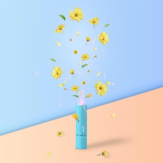 春または夏の概念。パステルカラーの背景にクラッパーから飛んでいる葉と花びらを持つ黄色い花。