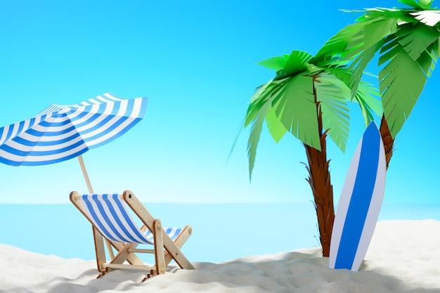 여름 휴가의 개념입니다. 야자수와 휴가용 액세서리가 있는 모래 해안의 아름다운 전망