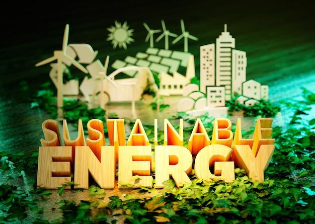 Концепция устойчивой энергетики - деревянный текст с дополнительными значками экологии на свежем зеленом фоне. 3d-рендеринг.