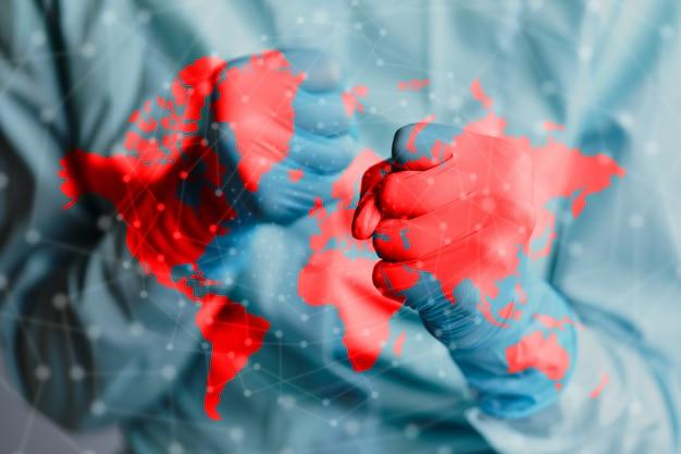 世界中のコロナウイルスcovid-19の戦いと対立の概念。