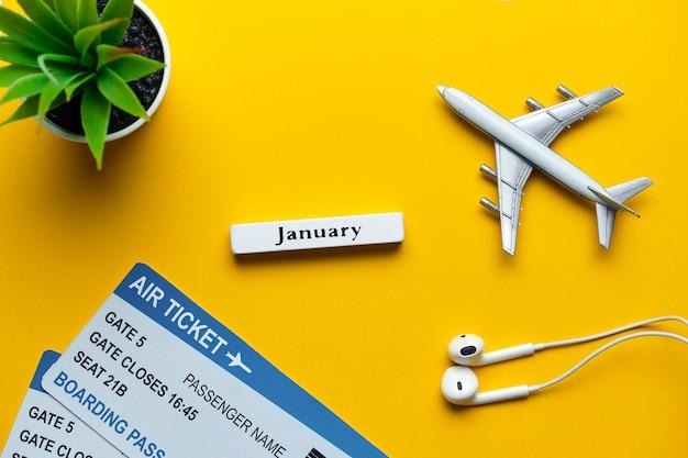 海外での1月の海外休暇のコンセプト。