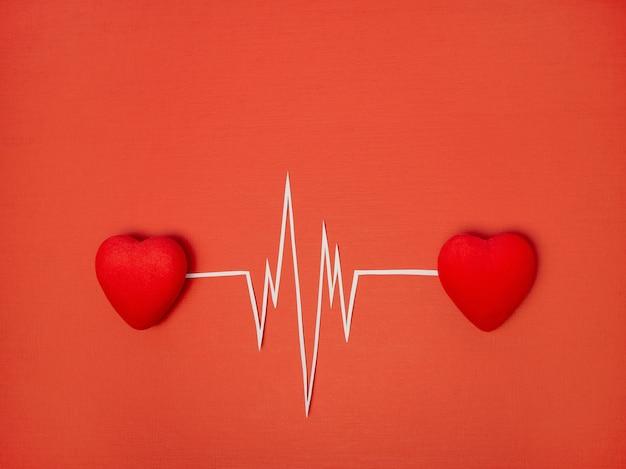 Концепция дня святого валентина ритм двух сердец, сердцебиение, кардиограмма