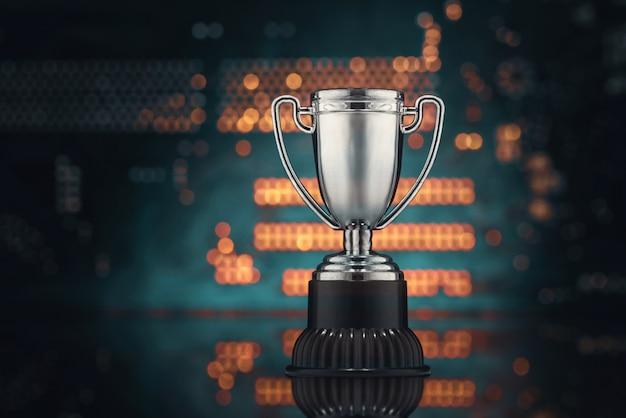 Концепция виртуального спорта. чемпионат видеоигр. кубок и материнская плата