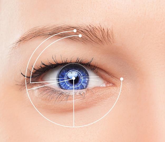 Концептуальный образ цифрового глаза или идентификация молодой женщины