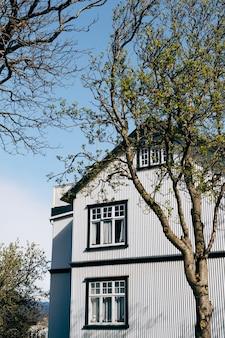 Угол фасада серого металлического дома с деревянными окнами возле весенних деревьев в