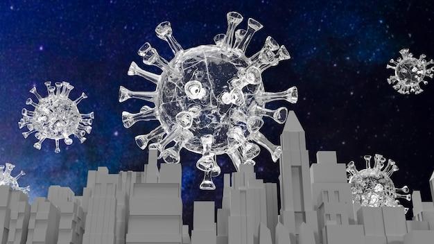 코로나 바이러스. 그리고 의료 과학 또는 마케팅 개념 3d 렌더링을 위한 건물입니다.