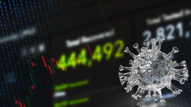 코로나 바이러스. 그리고 의료 과학 또는 마케팅 개념 3d 렌더링을 위한 비즈니스 차트입니다.
