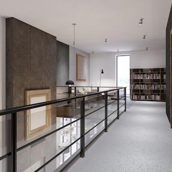 2층에 유리 난간이 있는 복도는 레크리에이션 공간과 도서관으로 연결됩니다. 다락방 스타일의 복층 아파트. 3d 렌더링.