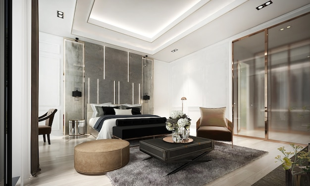 ベッドルームと大理石の壁の居心地の良いインテリアデザイン