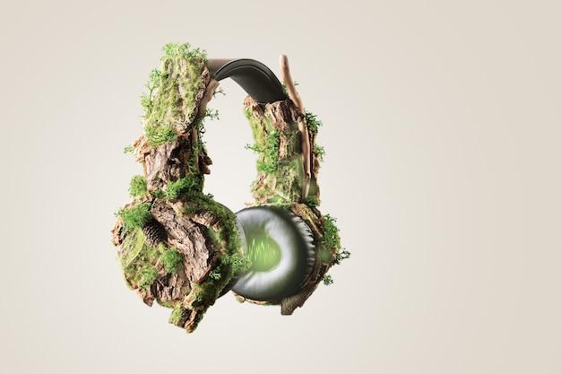 Креативная концепция замедления. наушники, заросшие древесной корой и мхом на бежевом фоне.