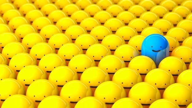 Толпа и один особенный. ряды желтых человечков и один синий улыбающийся. 3d визуализация.