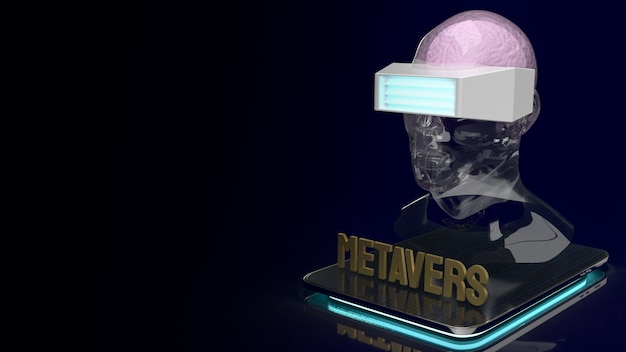 メタバースコンテンツの3dレンダリング用のタブレット上のクリスタルヘッドとヘッドセット