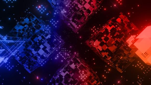 조명 기술 디지털 추상 배경 큐브 모양