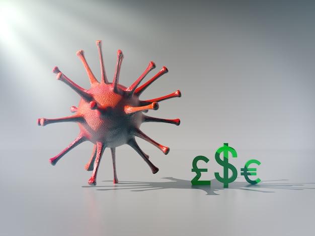 通貨アイコンは、大きなウイルスの影、コロナウイルスコンセプトの経済的影響の下にとどまります。