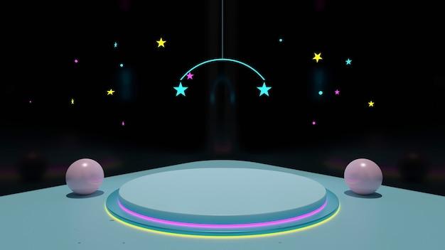 무대가있는 어두운 배경의 쇼룸에는 공과 별이 장식 된 네온 불빛이 있습니다.