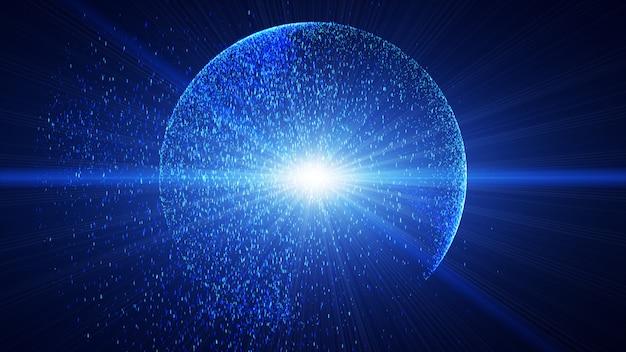 濃い青色の背景には、円を描くように爆発する光線のように輝く小さな青い塵の粒子があります。