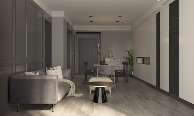 Украшение и уютный макет дизайна интерьера гостиной и столовой и пустой стены узор фона 3d-рендеринга