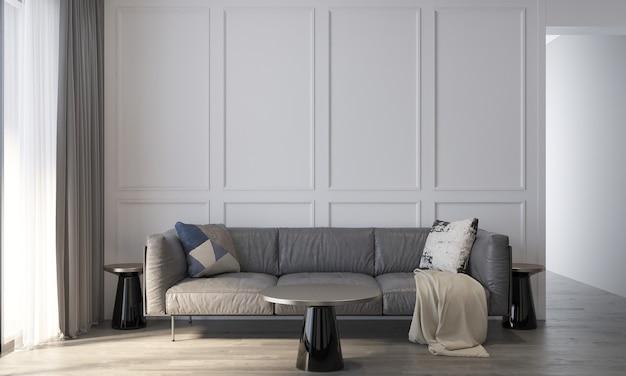 リビング ルームの装飾と居心地の良いモックアップ インテリア デザインと空の壁パターン背景 3 d レンダリング