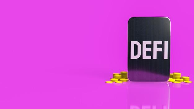 ビジネスまたは暗号通貨の概念の3dレンダリングのためのタブレットと黄色のコインの単語を除細動します。