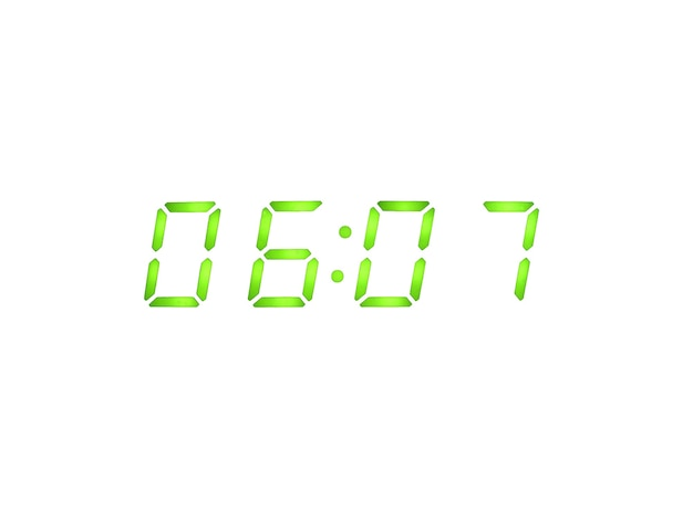 녹색 숫자가있는 디지털 알람 시계
