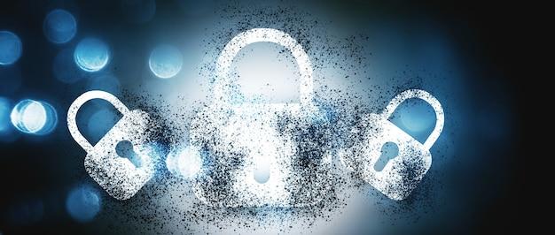 デジタルロックが破壊されます。青い背景の上のコンピュータのセキュリティ