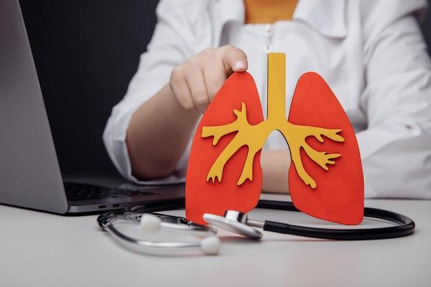 彼のオフィスの医者と人間の肺のモデル。ヘルスケアの概念。