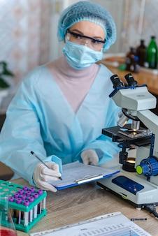 医者は研究室で研究を行っています。ドキュメントに情報を書き込みます。女性の科学者がコロナウイルスの研究結果を記録しています。